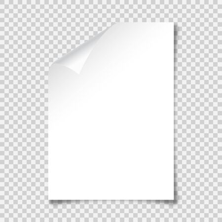 Realistic blank paper sheet with shadow in A4 format on transparent background. Notebook or book page with curled corner. Vector illustration