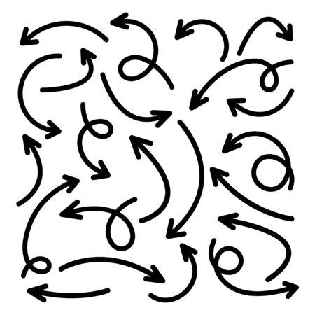 Flèches dessinées à la main noire sur fond blanc. Flèche, icône du curseur. Collection de pointeurs de vecteur. Retour, signe de page Web suivant. Vecteurs