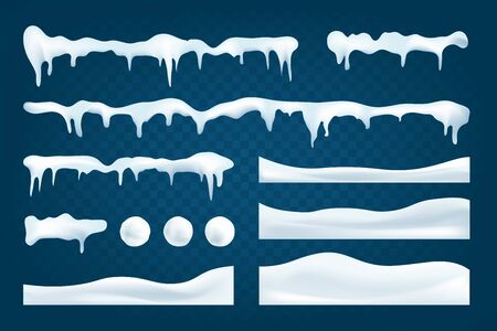 Realistic snowdrifts collection. Winter snowy abstract background. Frozen landscape with snow ice caps. Decoration for Christmas or New Year. Vector illustration.