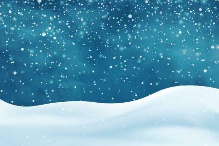 Cumuli di neve realistici. Priorità bassa astratta nevosa di inverno. Paesaggio ghiacciato con cappucci di neve. Decorazione per Natale o Capodanno. Illustrazione vettoriale