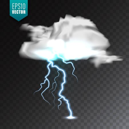 Realistic clouds with lightning on transparent background. Thunderstorm and lightning bolt. Sparks of light. Stormy weather effect. Vector illustration
