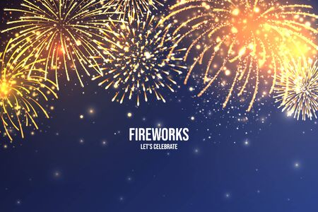 Festive fireworks. Realistic colorful firework on blue abstract background. Multicolored explosion. Christmas or New Year greeting card. Diwali festival of lights. Vector illustration Vecteurs