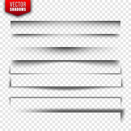 Vector schaduwen instellen. Paginaverdelers op transparante achtergrond. Realistische geïsoleerde schaduw. vector illustratie
