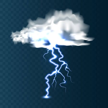 Realistic clouds with lightning on blue background. Thunderstorm and lightning bolt. Sparks of light. Stormy weather effect. Vector illustration Illusztráció