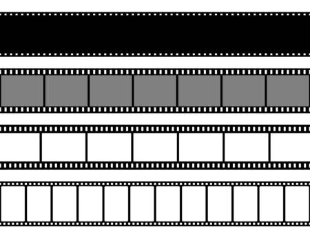 Film strips collection. Old retro cinema strip.