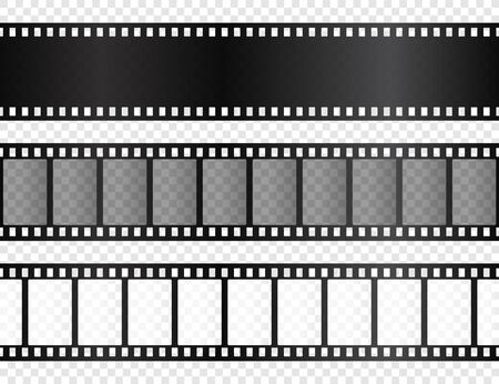 Realistic film strips collection on transparent