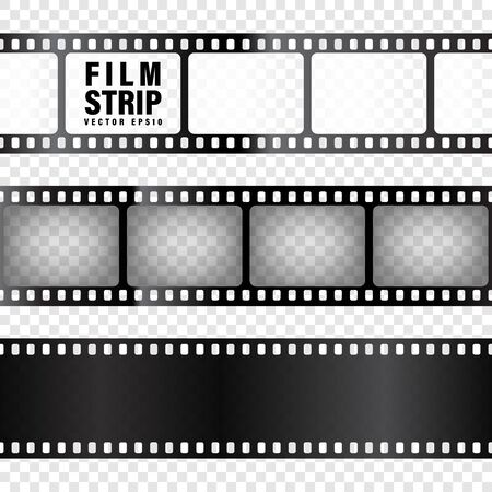Collezione di strisce di pellicola realistica su trasparente
