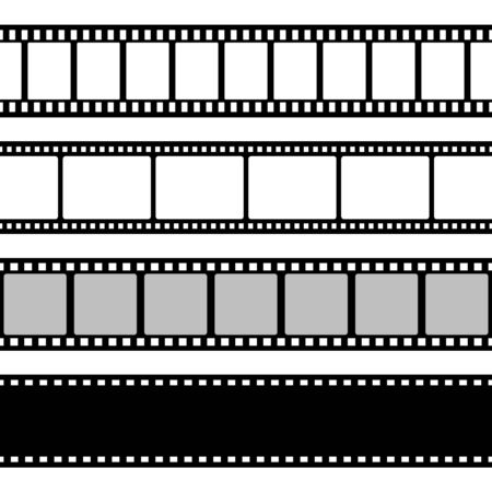 Film strips collection. Old retro cinema strip.