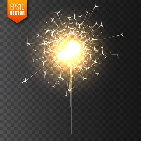 Realistic Christmas sparkler on transparent background. Bengal fire effect. Festive bright fireworks with sparks. New Year decoration. Burning sparkling candle. Vector illustration. Иллюстрация