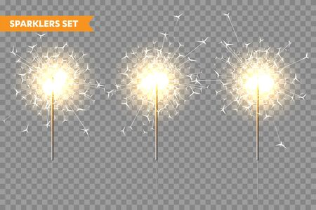 Realistic Christmas sparkler collection on transparent