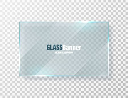 Shining glass frame. Realistic transparent glass banner with glare. Vector design element.