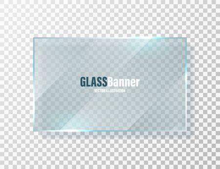 Shining glass frame. Realistic transparent glass banner with glare. Vector design element. Illustration