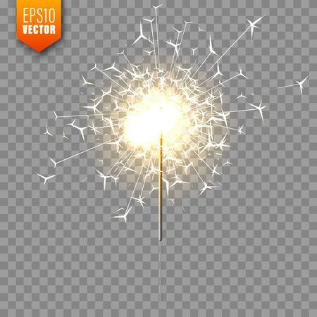 Realistic Christmas sparkler on transparent background. Bengal fire effect. Festive bright fireworks with sparks. New Year decoration. Burning sparkling candle. Vector illustration. Illustration