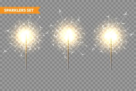 Realistic Christmas sparkler collection on transparent background. Bengal fire effect. Festive bright fireworks with sparks. New Year decoration. Burning sparkling candle. Vector illustration.