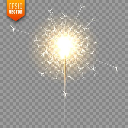 Realistic Christmas sparkler on transparent background. Bengal fire effect. Festive bright fireworks with sparks. New Year decoration. Burning sparkling candle. Vector illustration. Ilustrace