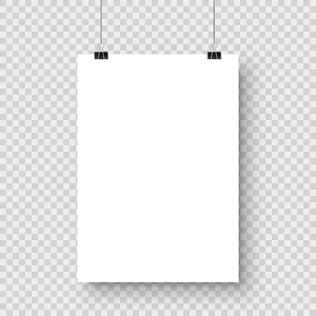 Realistic hanging blank paper sheet with shadow in A4 format and black paper clip, binder on checkered background. Design poster, template or mockup. Vector illustration.