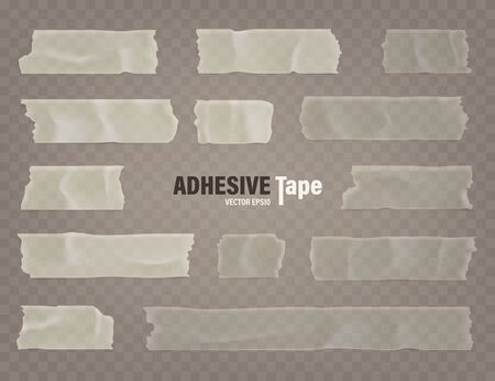 Realistic transparent adhesive tape set. Sticky scotch, duct paper strips on checkered background. Vector illustration.