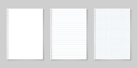 Realistic blank lined paper sheet with shadow in A4 format isolated on gray background collection. Notebook or book page. Design template or mockup. Vector illustration.