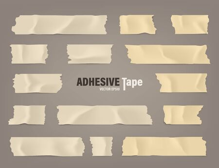 Realistic adhesive tape set. Sticky scotch, duct paper strips on brown background. Vector illustration.