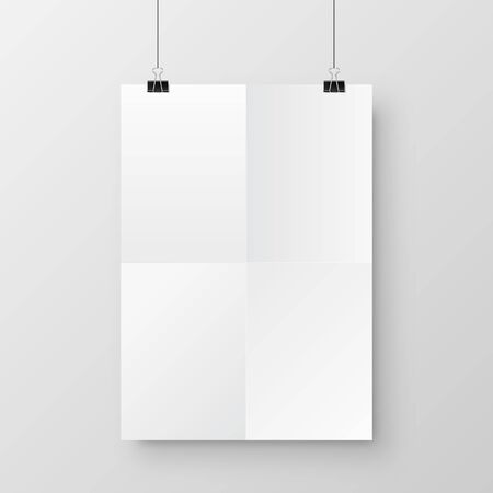 Realistic hanging blank paper sheet with shadow in A4 format and black paper clip, binder on gray background. Design poster, template or mockup. Vector illustration. Illustration