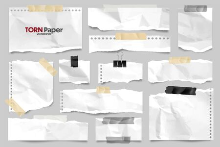 White ripped crumpled paper strips collection. Realistic paper scraps with torn edges and adhesive tape. Sticky notes, shreds of notebook pages. Vector illustration. Ilustração