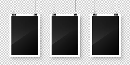 Photo card frame, film hanging on paper clips with transparent background. Digital snapshot image. Photography art. Photograph template or mockup for design. Vector illustration.