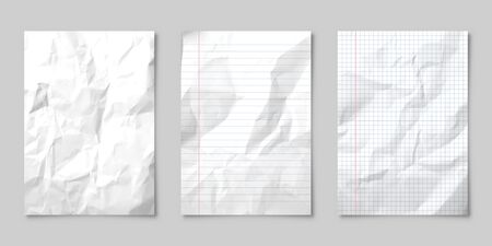 Realistic blank lined crumpled paper sheet with shadow in A4 format isolated on gray background. Notebook or book page. Design template or mockup. Vector illustration.