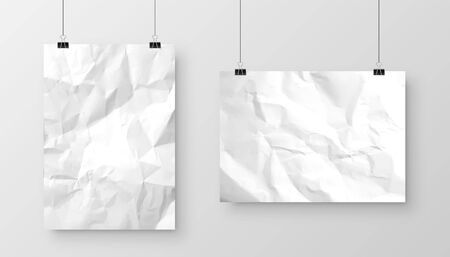 Realistic hanging blank crumpled paper sheet with shadow in A4 format isolated on gray background. Notebook or book page. Design template or mockup. Vector illustration