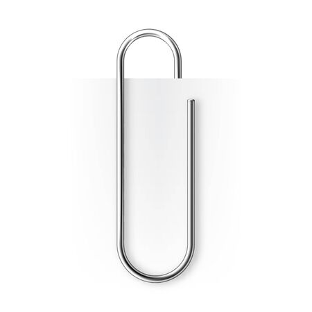 Realistic metal paper clip isolated on white background. Page holder, binder. Vector illustration.
