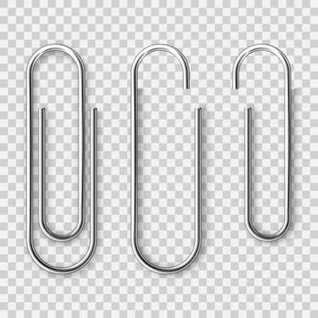 Realistic metal paper clip isolated on transparent background. Page holder, binder. Vector illustration 일러스트