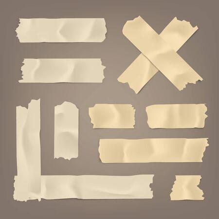 Realistisches Klebeband-Set. Klebriger Scotch, Kanalpapierstreifen auf braunem Hintergrund. Vektor-Illustration.