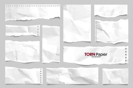 White ripped crumpled paper strips collection. Realistic paper scraps with torn edges. Sticky notes, shreds of notebook pages. Vector illustration.
