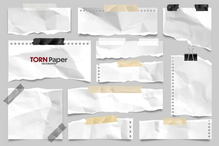 White ripped crumpled paper strips collection. Realistic paper scraps with torn edges and adhesive tape. Sticky notes, shreds of notebook pages. Vector illustration. Illustration
