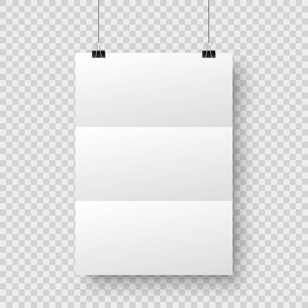 Realistic hanging blank paper sheet with shadow in A4 format and black paper clip, binder on checkered background. Design poster, template or mockup. Vector illustration