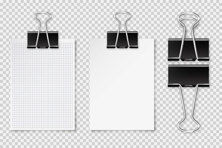 Realistic blank paper sheet with shadow in A4 format and black paper clip, binder isolated on checkered background. Design template or mockup. Vector illustration Ilustrace