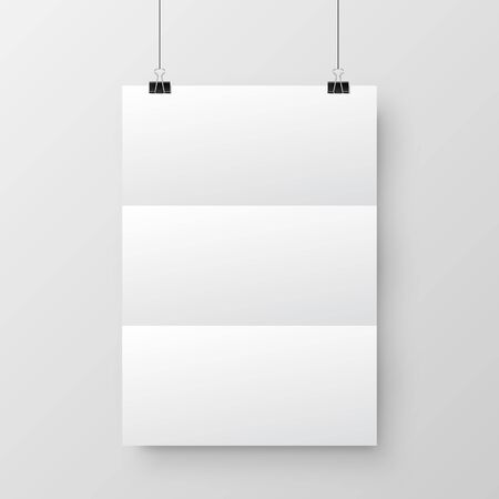 Realistic hanging blank paper sheet with shadow in A4 format and black paper clip, binder on gray background. Design poster, template or mockup. Vector illustration