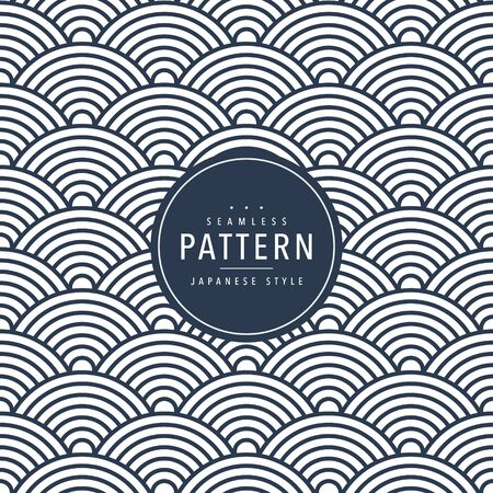 Japanese seamless wave pattern. Traditional Chinese texture. Oriental New Year background. Vector illustration. Vettoriali