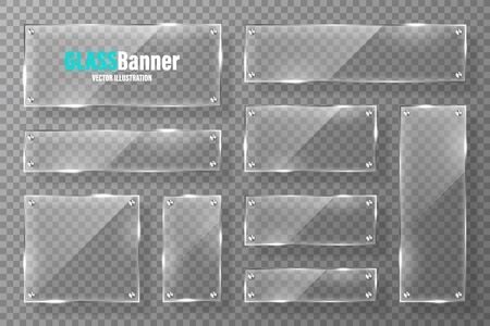 Glasrahmen mit Metallhalterkollektion. Realistisches transparentes Glasbanner mit Blendung. Mockup-Designelement. Vektor-Illustration Vektorgrafik