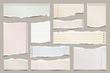 Farbige zerrissene linierte Papierstreifensammlung. Realistische Papierschnipsel mit zerrissenen Kanten. Haftnotizen, Fetzen von Notizbuchseiten. Vektor-Illustration Vektorgrafik