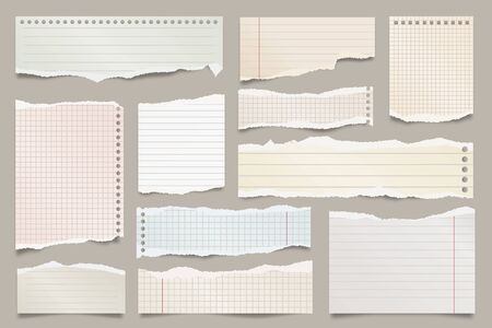 Colored ripped lined paper strips collection. Realistic paper scraps with torn edges. Sticky notes, shreds of notebook pages. Vector illustration Illustration