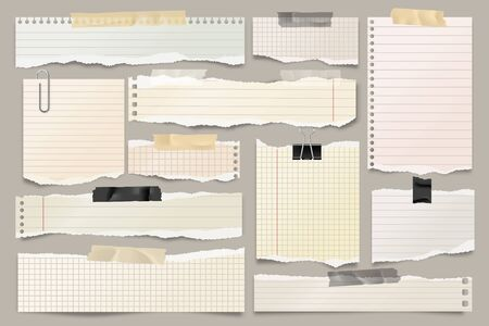 Colored ripped lined paper strips collection. Realistic paper scraps with torn edges and adhesive tape. Sticky notes, shreds of notebook pages. Vector illustration