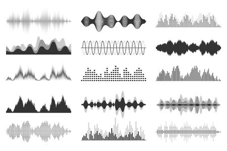 Sound waves collection. Analog and digital audio signal. Music equalizer. Interference voice recording. High frequency radio wave. Vector illustration