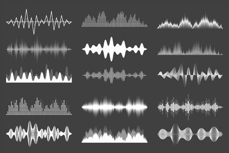Sound waves collection. Analog and digital audio signal. Music equalizer. Interference voice recording. High frequency radio wave. Vector illustration Stock Illustratie