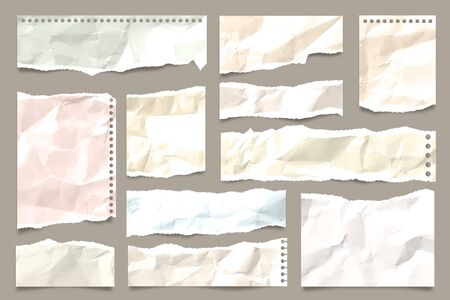 Ripped colored crumpled paper strips collection. Realistic paper scraps with torn edges. Sticky notes, shreds of notebook pages. Vector illustration. Stock Vector - 135969677