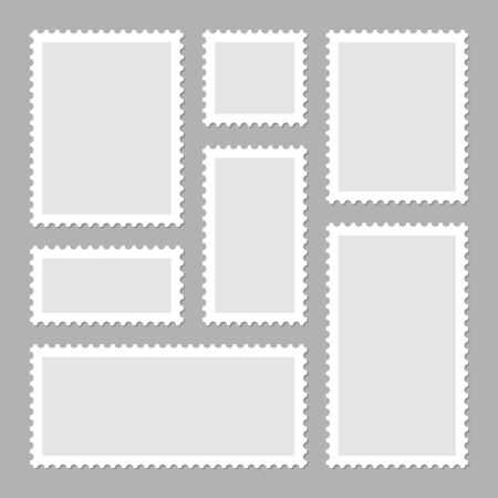 Blank postage stamps collection. Sticky paper stamp. Vector illustration.