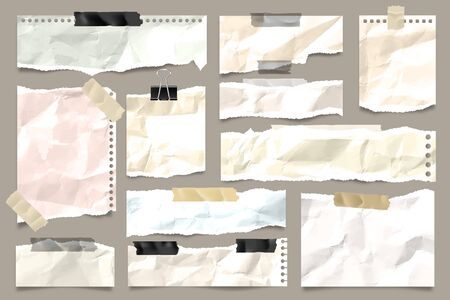 Ripped colored crumpled paper strips collection. Realistic paper scraps with torn edges and adhesive tape. Sticky notes, shreds of notebook pages. Vector illustration.