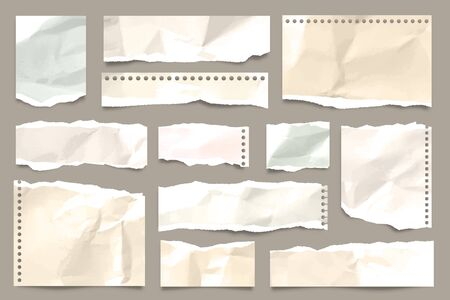 Ripped colored crumpled paper strips collection. Realistic paper scraps with torn edges. Sticky notes, shreds of notebook pages. Vector illustration. Stock Vector - 135969802
