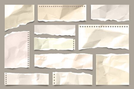 Ripped colored crumpled paper strips collection. Realistic paper scraps with torn edges. Sticky notes, shreds of notebook pages. Vector illustration.