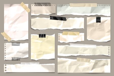 Ripped colored crumpled paper strips collection. Realistic paper scraps with torn edges and adhesive tape. Sticky notes, shreds of notebook pages. Vector illustration
