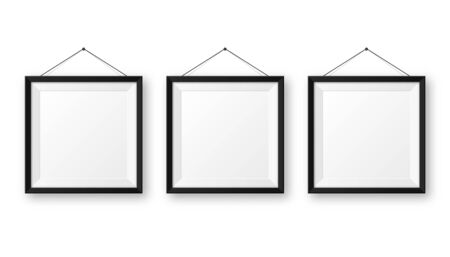 Realistic hanging on a wall blank black picture frame with shadow. Modern poster mockup isolated on white background. Empty photo frame for art gallery or interior. Vector illustration